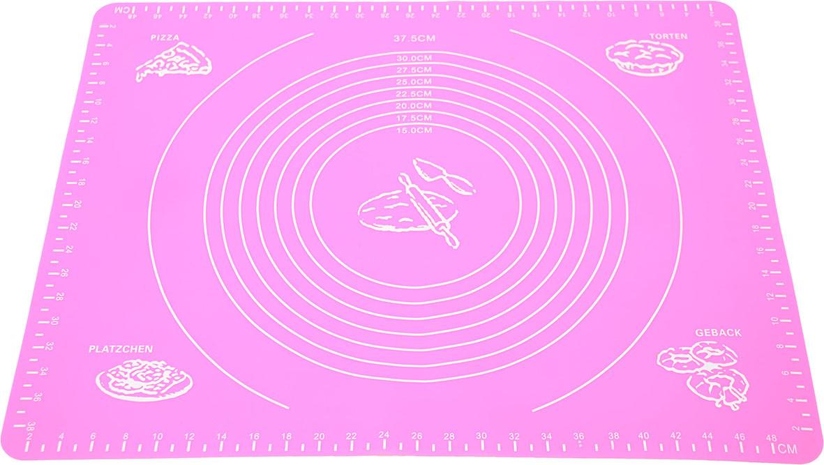 Силиконовый антипригарный коврик для выпечки и раскатки теста 50x40 см Розовый (vol-657)