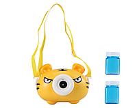 Детский генератор мыльных пузырей Тигренок на батарейках с подсветкой и музыкой Bubble Maker Camera