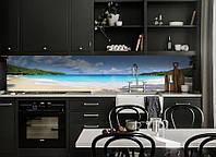 Виниловая наклейка кухонный фартук-скинали, самоклейка для кухни ReD Тропический пляж Баунти 60х250 см
