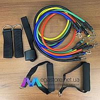 Эспандер Бубновского резиновый набор трубчатых эспандеров 5 шт для спорта фитнеса реабилитации ног с петлями