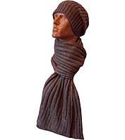 Вязаная мужская шапка-носок и шарф спортивного силуэта