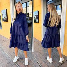 Женское платье, турецкий вельвет, р-р 42-44; 46-48; 48-50 (тёмно-синий)
