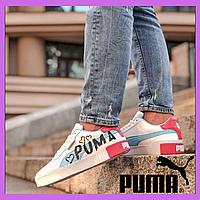 Женские кожаные кроссовки Puma Pure White Rose Gold Valentine's Day