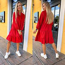 Женское платье, турецкий вельвет, р-р 42-44; 46-48; 48-50 (красный)