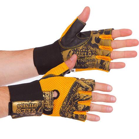 Перчатки атлетические с фиксатором запястья VELO VL-3224 (реплика), фото 2