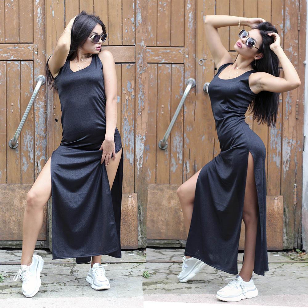 Женское летнее платье майка в поп в разрезами по бокам