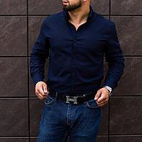 Мужская рубашка лен классика темно-синяя