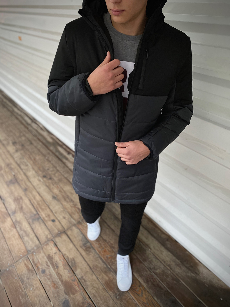 "Демісезонна Куртка ""Fusion"" бренду Intruder (сіра - чорна)"