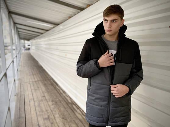 "Демісезонна Куртка ""Fusion"" бренду Intruder (сіра - чорна), фото 3"