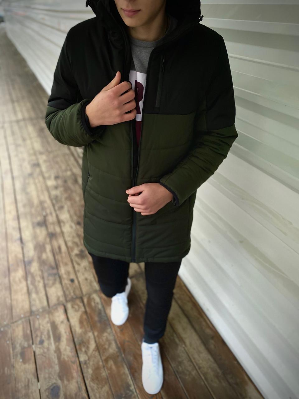 """Демисезонная Куртка """"Fusion"""" бренда Intruder (хаки - черная)"""