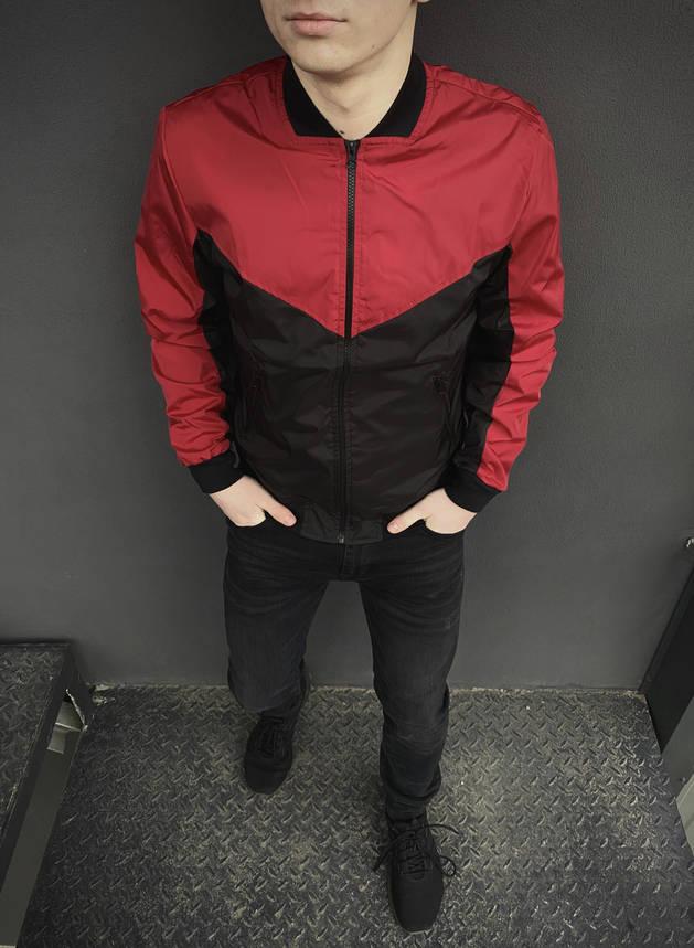 Бомбер черно-красный мужской весенний, фото 2