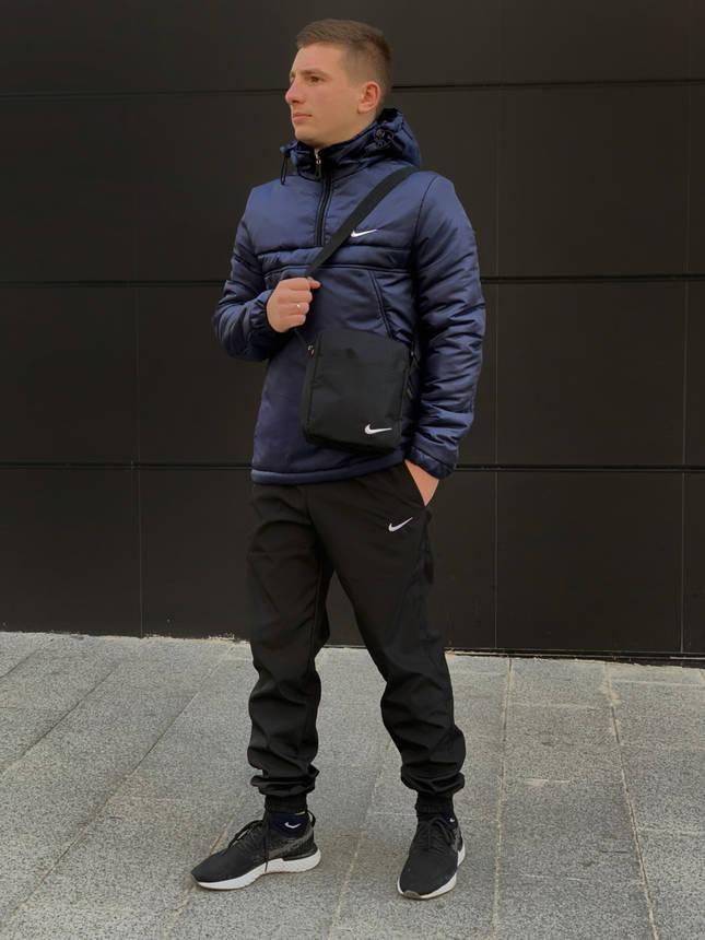 Ветровка Анорак теплый Найк, Nike синий + Штаны President + подарок Барсетка, фото 2