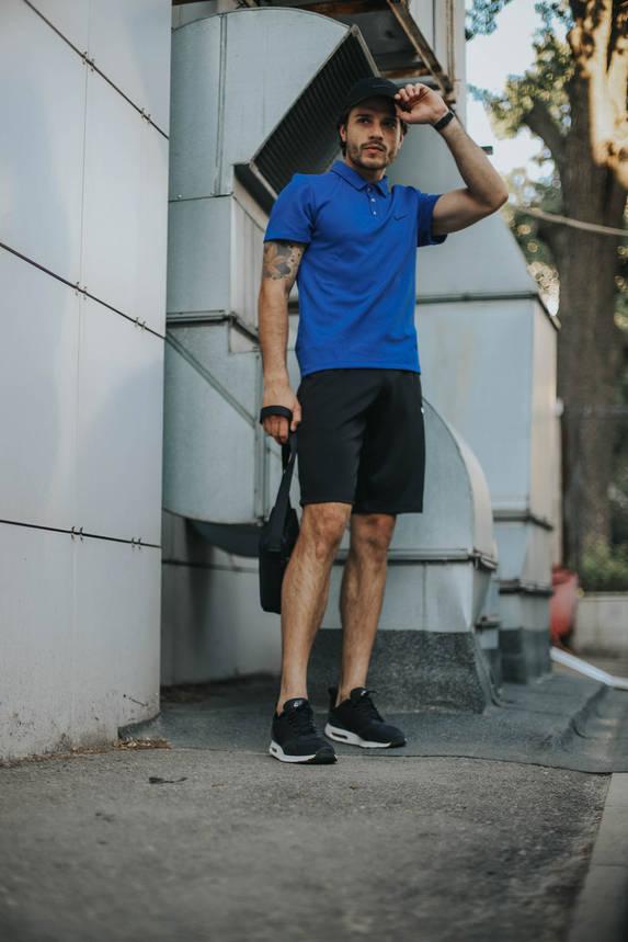 Костюм Футболка Поло електрик + Шорты + Кепка Черная.  Барсетка в подарок! Nike (Найк), фото 2
