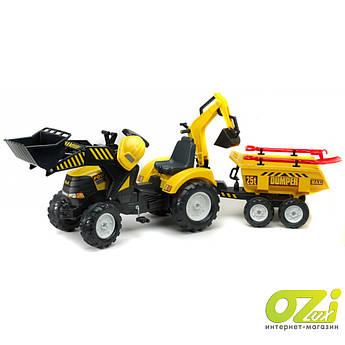 Детский трактор на педалях Falk 1000WH Powerloader с прицепом погрузчиком и экскаватором + аксессуары