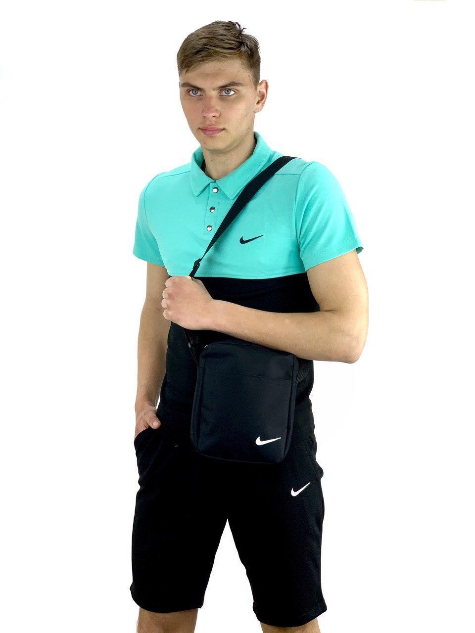 Футболка Поло черная-бирюзовая + Шорты+ Барсетка Nike (Найк) Костюм в стиле Nike летний