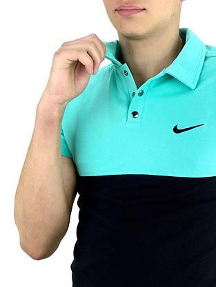 Футболка Поло черная-бирюзовая + Шорты+ Барсетка Nike (Найк) Костюм в стиле Nike летний, фото 3