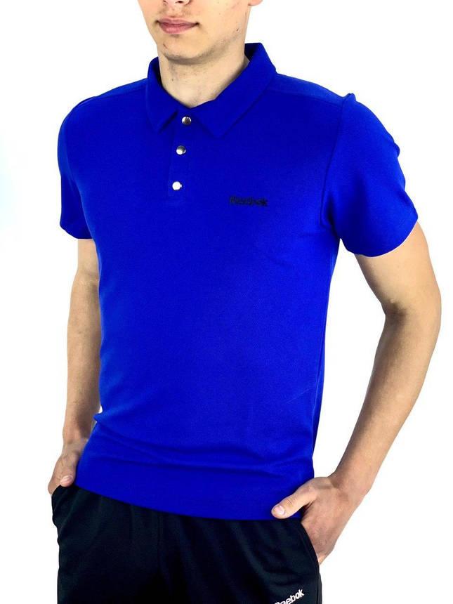 Футболка Поло Чоловіча синя в стилі Reebok (Рібок), фото 2