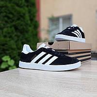 Мужские кроссовки в стиле Adidas Gazelle  чёрные с белым, фото 1