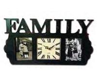 Часы-фоторамка настенный деревянный Семья