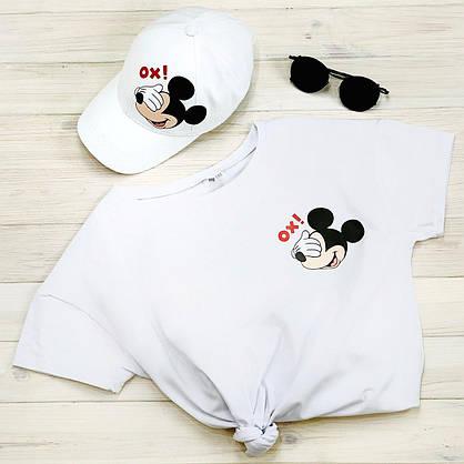 Кепка жіноча біла з принтом Mickey Mouse міккі маус, фото 2