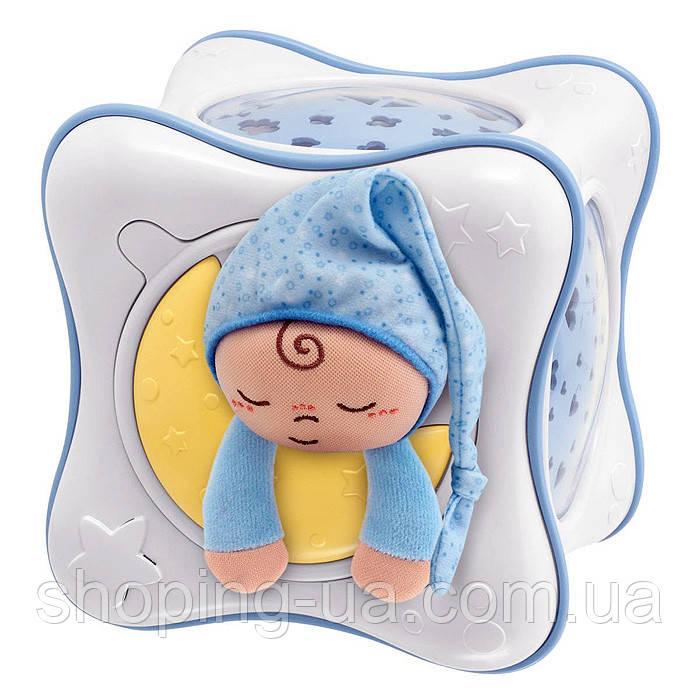 Ночник проектор радужный кубик Cube голубой Chicco 24302