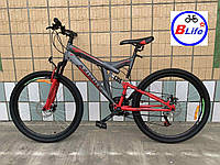Горный двухподвесный велосипед Azimut Power 26 D+/дисковые тормоза/cеро-красный