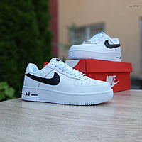Мужские кроссовки в стиле Nike Air Force 1 белые с черным