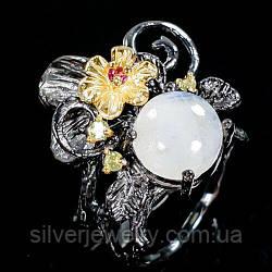 Серебряное кольцо с ЛУННЫМ КАМНЕМ (натуральный), серебро 925 пр. Размер 17,5