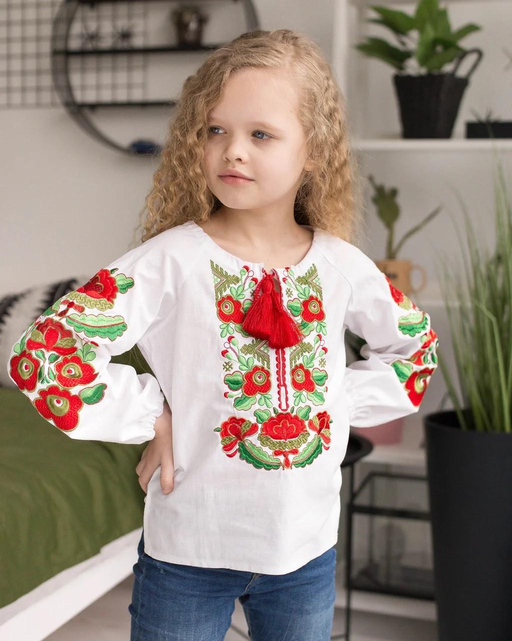 Вышиванка для девочки Оливка