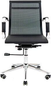 Офисное кресло Richman Armchair Koln-LB хром черное невысокая спинка-сетка