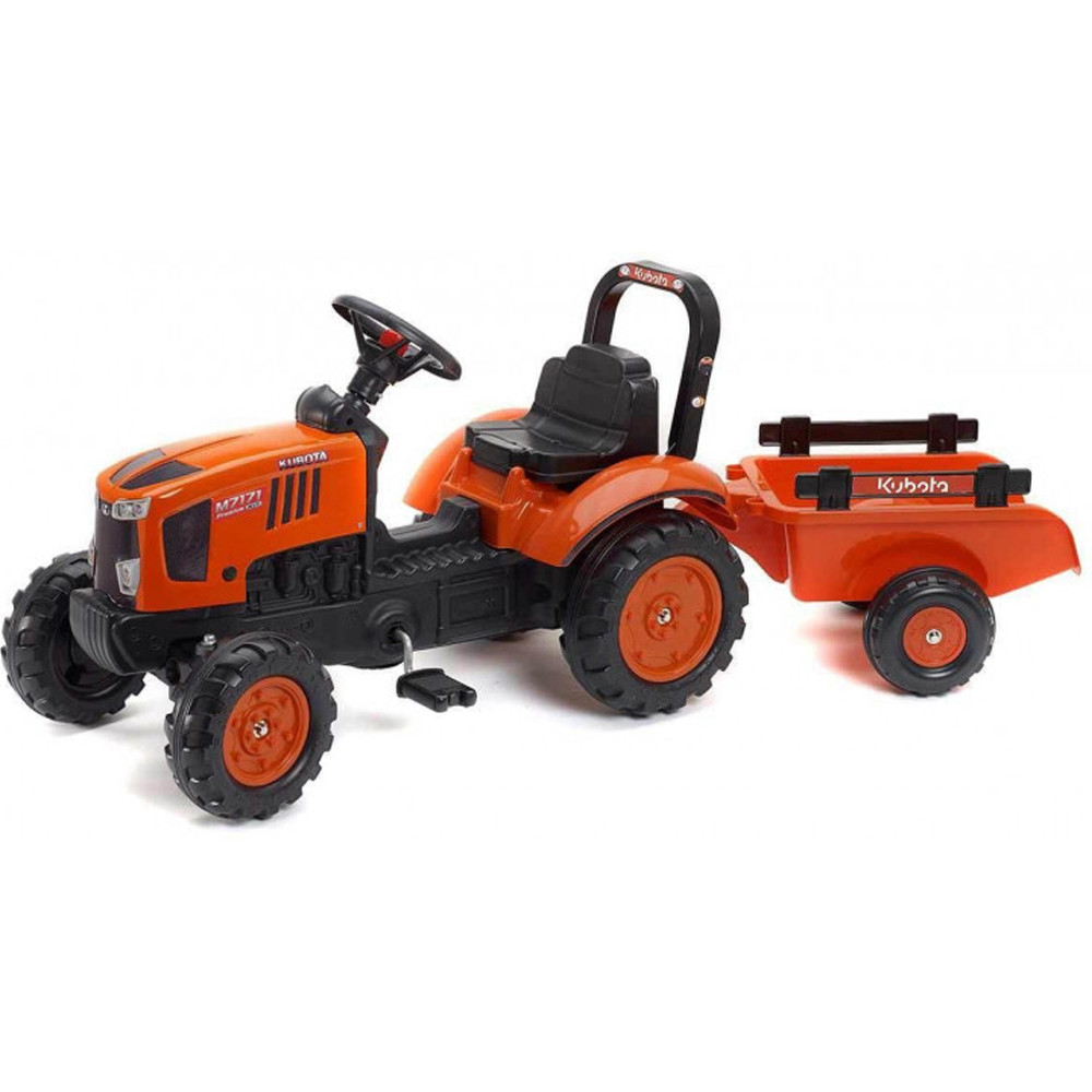 Детский трактор на педалях Falk 2065AB KUBOTA M7171 с прицепом