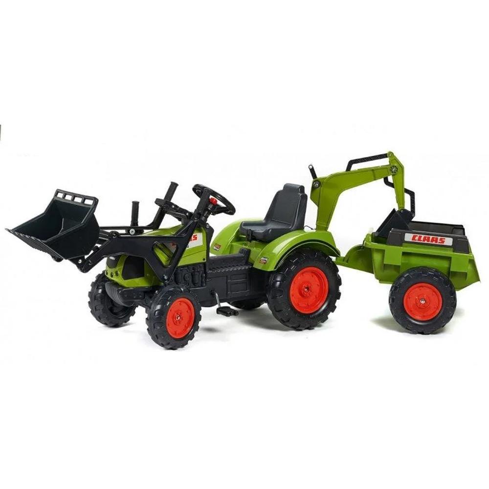 Детский трактор на педалях с прицепом Falk 2070Y Claas Arion передним и задним ковшом