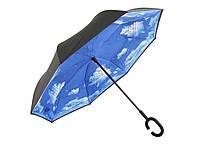 Женский зонт автомат наоборот (обратного сложения) № F08-I Небо в облаках / Антизонт