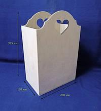 Короб с сердечком 20х13х30,5 см фанера заготовка для декора