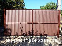 Ворота из профнастила, Откатные ворота из металлопрофиля, Профлист для ворот, Металлопрофиль для ворот купить.