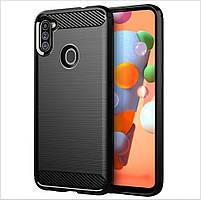 Чехол Polished Carbon для Samsung Galaxy A11 (A115) ТПУ бампер черный