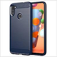 Чехол Polished Carbon для Samsung Galaxy A11 (A115) ТПУ бампер синий