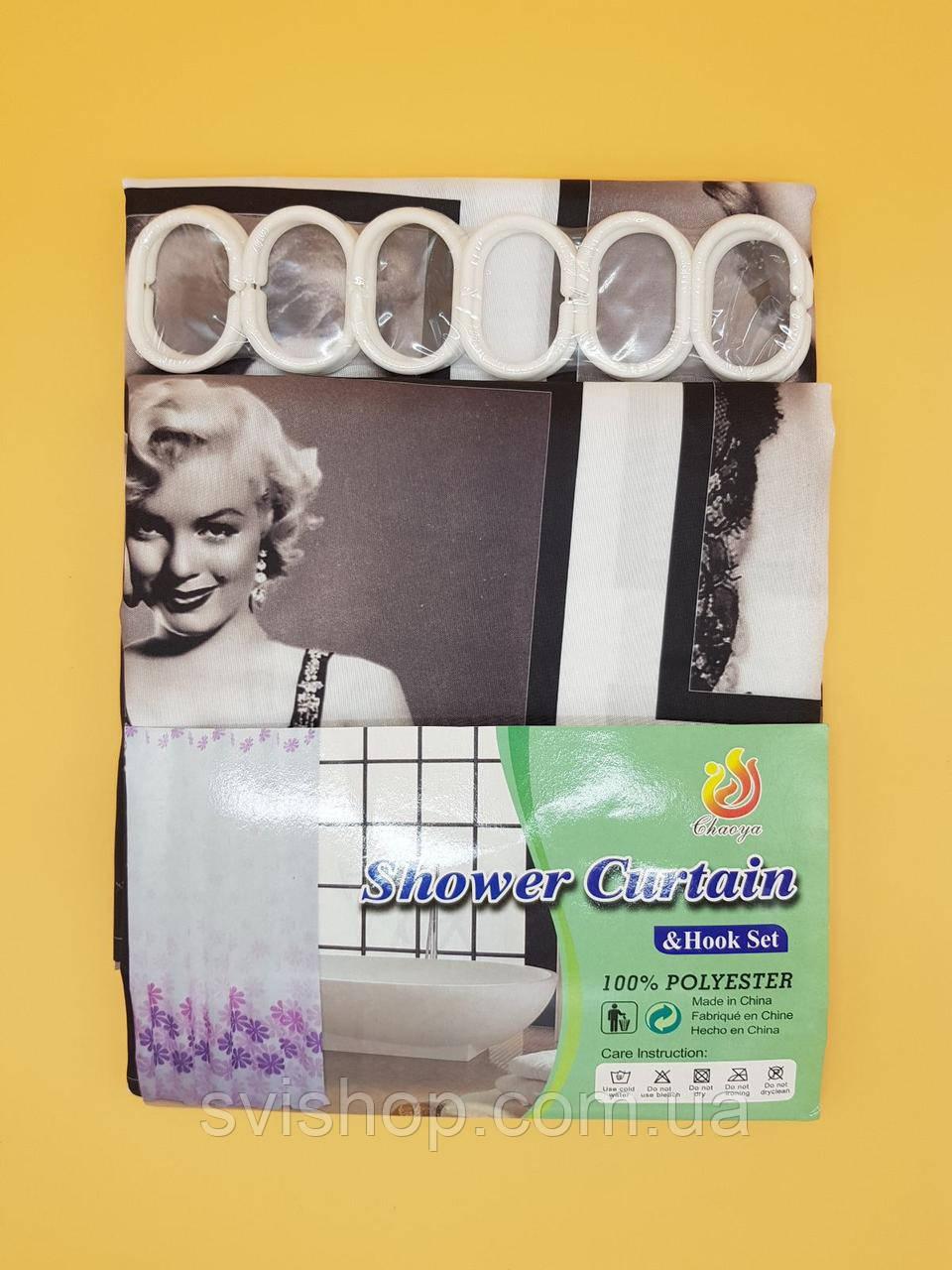 Штора для ванной комнаты тканевая '' Мерлин Монро '' размер 180х180см. Цвет черно-белый.