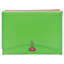 Папка с файлами 13отд.+2 кармана L6142 (260х138мм) неоновый зеленый