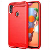 Чехол Polished Carbon для Samsung Galaxy A11 (A115) ТПУ бампер красный