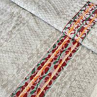 Льон рушникові жакардовий з червоно-помаранчевої смужкою, ш. 75 см