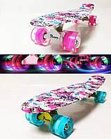 Пенни борд детский ( скейтборд , скейт ) Penny Board  Светящиеся колёса