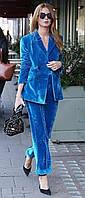 Бірюзовий оксамитовий/велюровий костюм класичний піджак та брюки. 40-74+ батал плюссайз