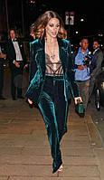 Зелений оксамитовий/велюровий костюм класичний піджак та брюки. 40-74+ батал плюссайз