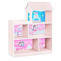 Полочка-домик HB-305-1-2 стеллаж, ш96-в117-г34см, высота полок 30см,розово-белый, единорог