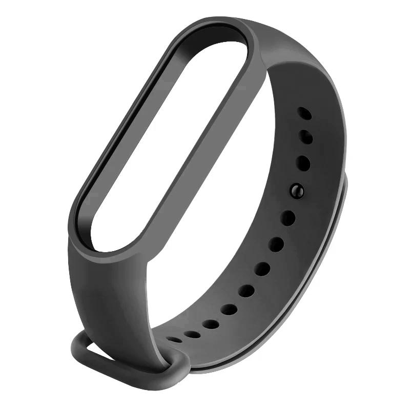 Силиконовый тёмно-серый  ремешок  на фитнес трекер Xiaomi mi band 4 / 3 браслет аксессуар замена