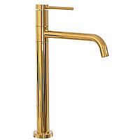 Смеситель для раковины (умывальника) REA LUGANO SLIM GOLD золотой высокий
