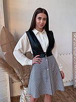 Сарафан женский трендовый комбинация эко кожи и костюмки в гусиную лапкуSmff4636