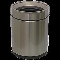 Ведро для мусора JAH 8 л круглое серебряный металлик без крышки с внутренним ведром