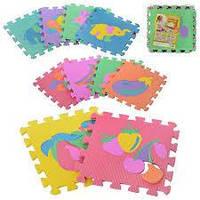 Детский коврик мозаика «Фрукты-Животные» арт. M 0376 EVA (безопасные пазлы для малышей)